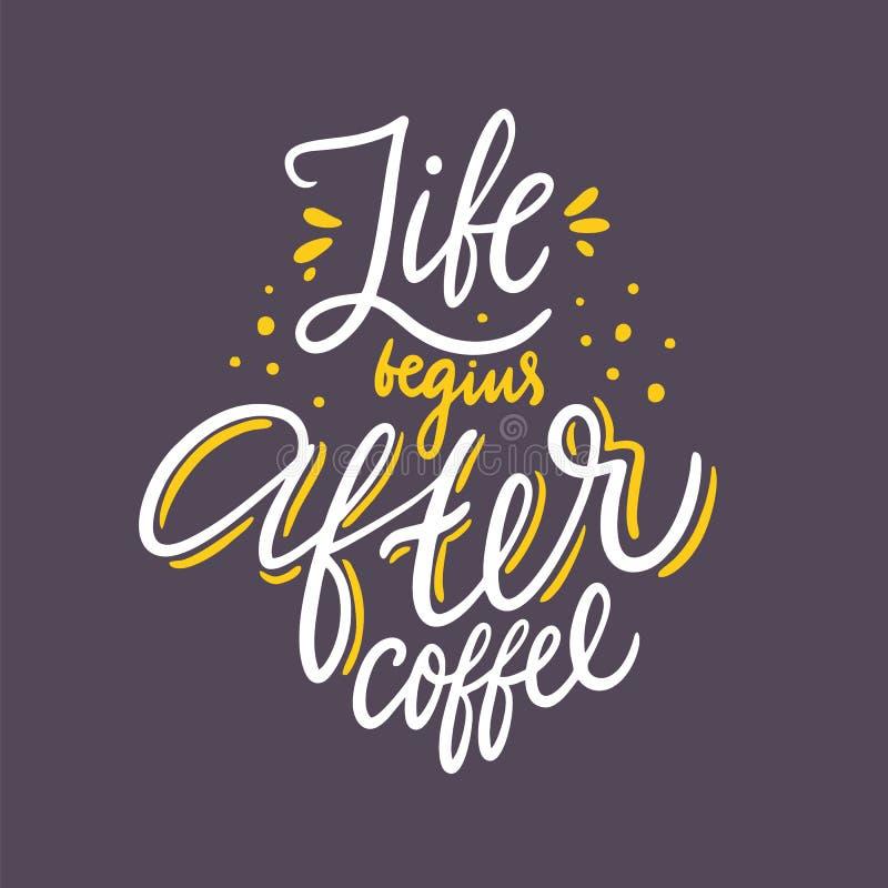 Liv b?rjar efter kaffe F?r vektorbokst?ver f?r hand utdraget citationstecken Isolerat p? bakgrund stock illustrationer