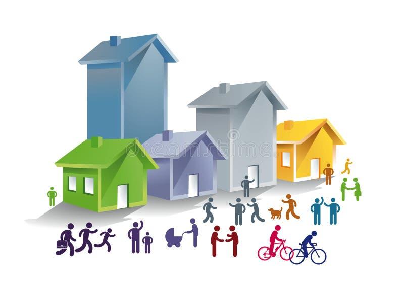 Liv i en gemenskap stock illustrationer