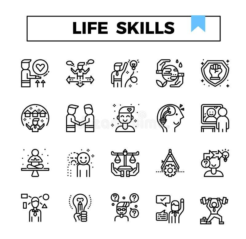 Liv och arbetande uppsättning för symbol för expertisöversiktsdesign vektor illustrationer