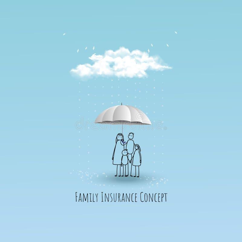Liv och familjförsäkringbegrepp Regnigt över familjen också vektor för coreldrawillustration stock illustrationer