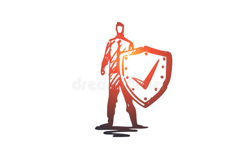 Liv räddning, sköld, säkerhet, skyddsbegrepp Hand dragen isolerad vektor royaltyfri illustrationer