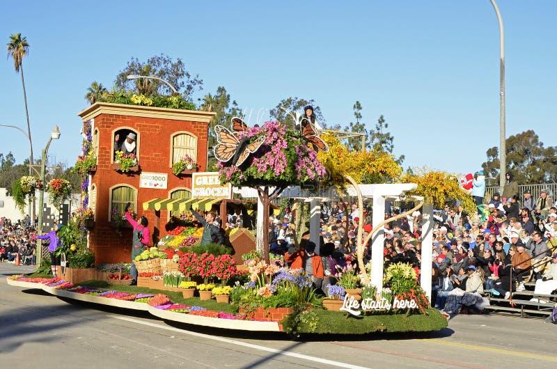 Liv startar här Rose Bowl Float royaltyfri bild