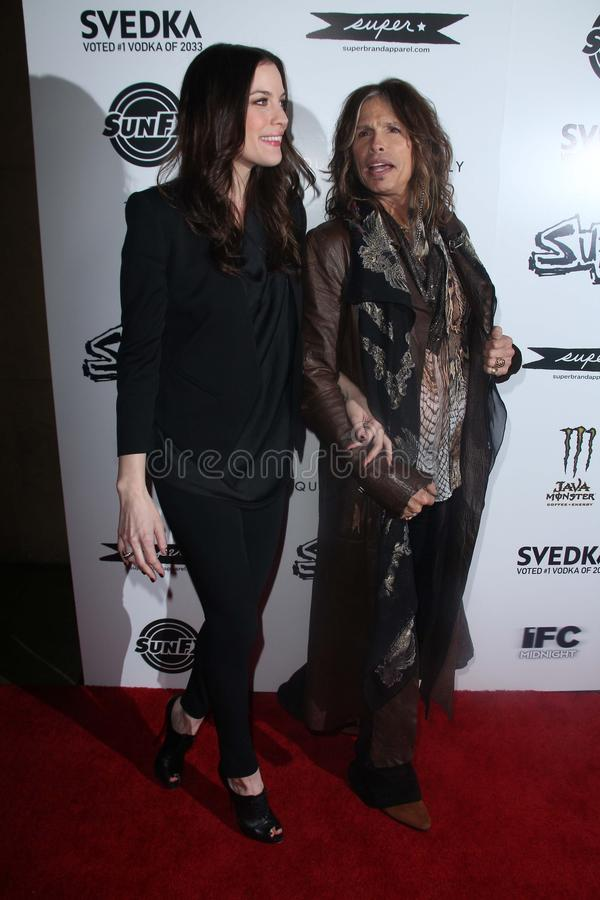 Liv Tyler,Steven Tyler. Liv Tyler and Steven Tyler at the Super Los Angeles Premiere, Egyptian Theater, Hollywood, CA. 03-21-11 stock images