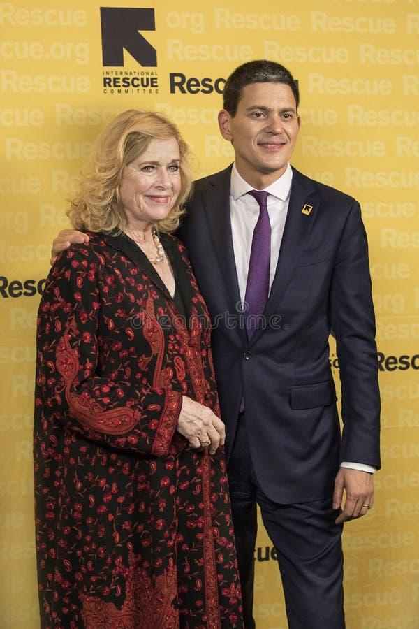Liv Ullman e David Miliband foto de stock
