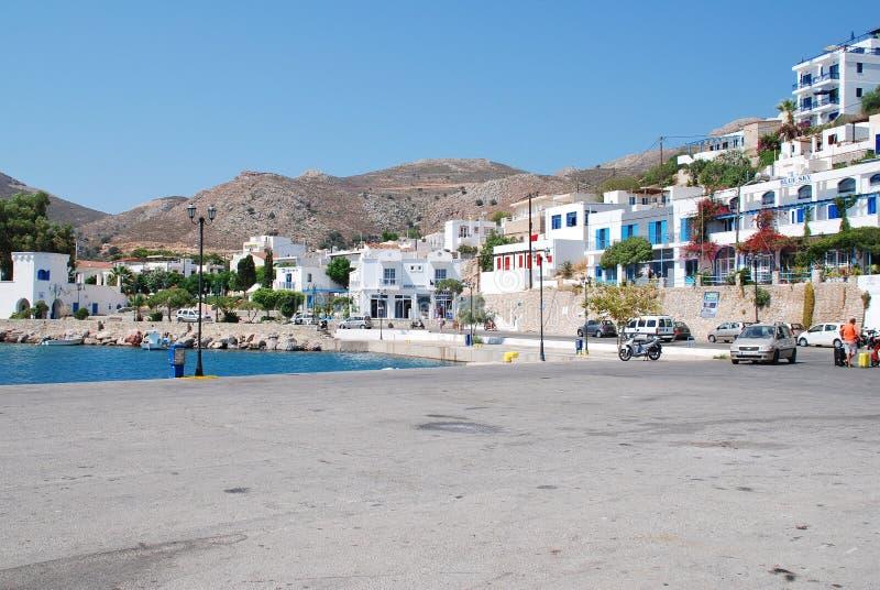 Livadia港口,蒂洛斯岛 库存照片