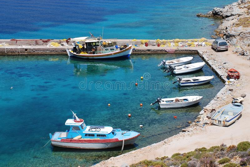 Livadia harbour, Tilos stock photography