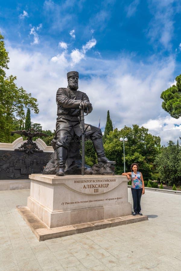 Livadia, Krim - 10 juli 2019 Monument voor Tsar Alexander III, Sculptor - Andrey Kovalchuk royalty-vrije stock foto