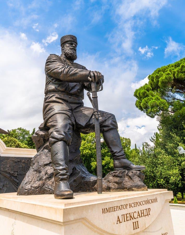 Livadia, Krim - 10 juli 2019 Monument voor Tsar Alexander III, Sculptor - Andrey Kovalchuk royalty-vrije stock afbeeldingen