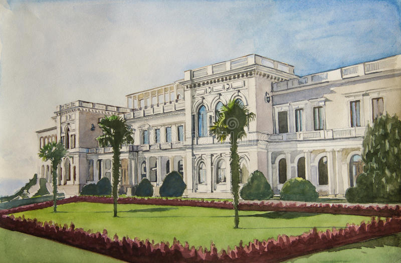 Livadia Palace in Yalta. Painting Livadia Palace in Yalta. Crimea royalty free stock photo
