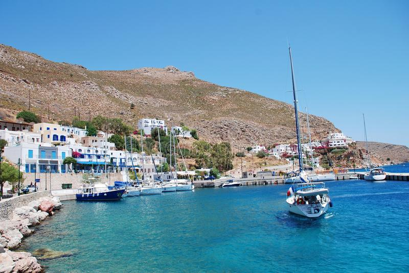 Livadia seafront on Tilos island royalty free stock image