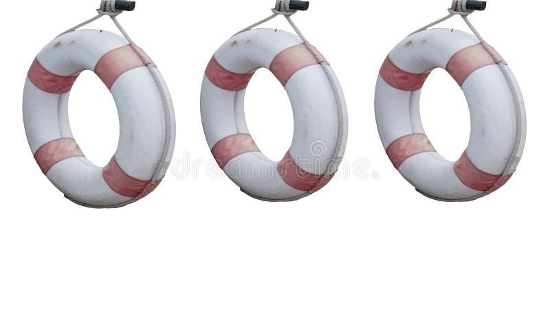 Livboj för tre cirkel som är gammal med att hänga för rep som isoleras på vita bakgrunder Livsparare fotografering för bildbyråer