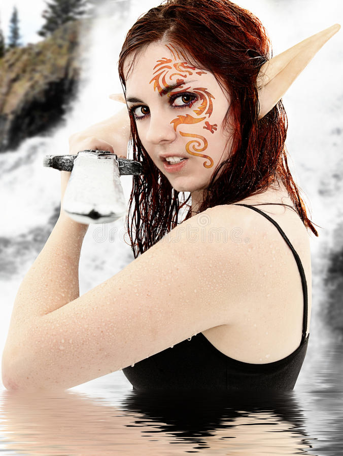 Live Action Role Play Character in Costume. In lake dressed as fantasy warrior elf royalty free stock image
