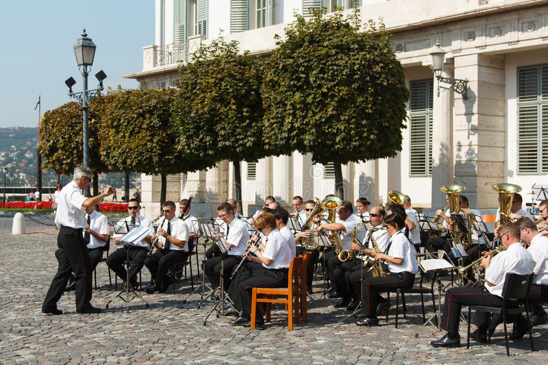 Live band playing musical instruments in the town square. 17 September, 2011. Fishermen`s Bastion in Budapest, Hungary. Live band playing musical instruments in royalty free stock image