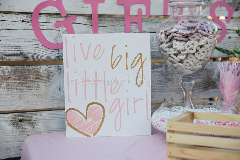 Live big little girl sigh. Baby shower stock images