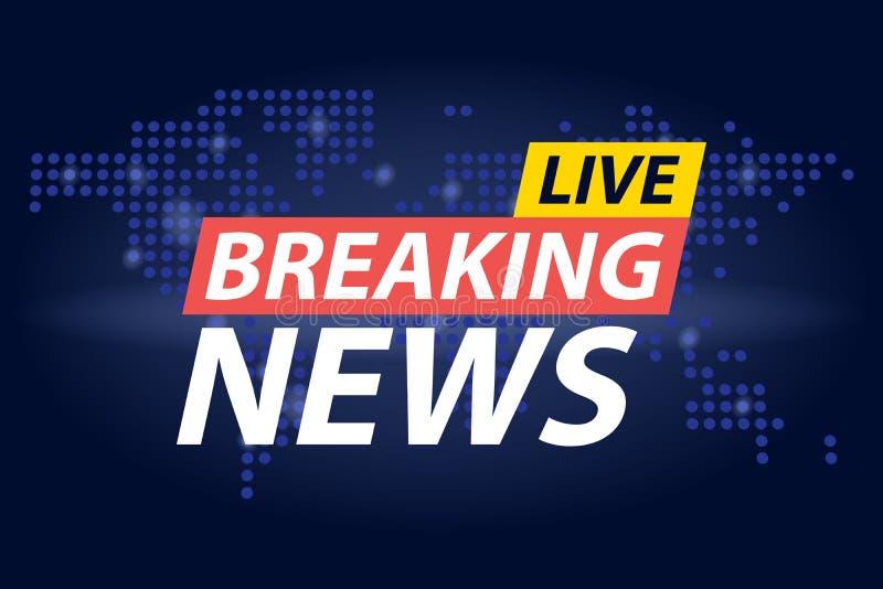 Live Breaking News-krantekop op de blauwe gestippelde achtergrond van de wereldkaart Vector illustratie stock illustratie