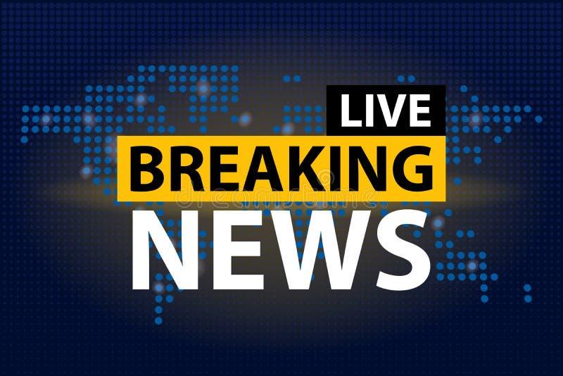 Live Breaking News-krantekop op de blauwe gestippelde achtergrond van de wereldkaart Vector illustratie royalty-vrije illustratie