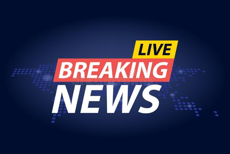 Live Breaking News-Schlagzeile in Blau punktiertem Weltkartehintergrund Auch im corel abgehobenen Betrag lizenzfreie abbildung