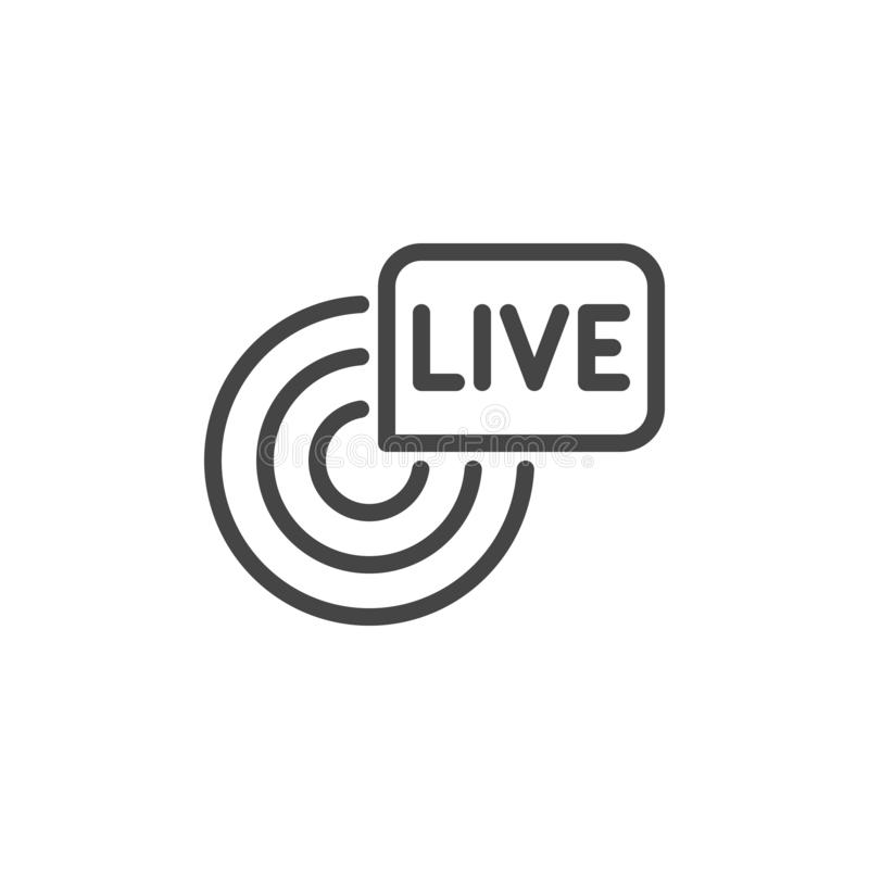 Live broadcast icon. Reportage, webcast symbol. Online tv, radio channel emblem. Camera sgin and inscription in bubble. Live broadcast line icon. Reportage vector illustration