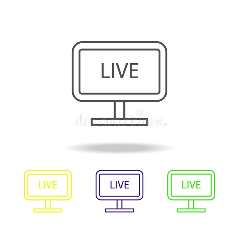 live broadcast on TV multicolored icons. Element of journalism for mobile concept and web apps illustration. Can be used for web, vector illustration