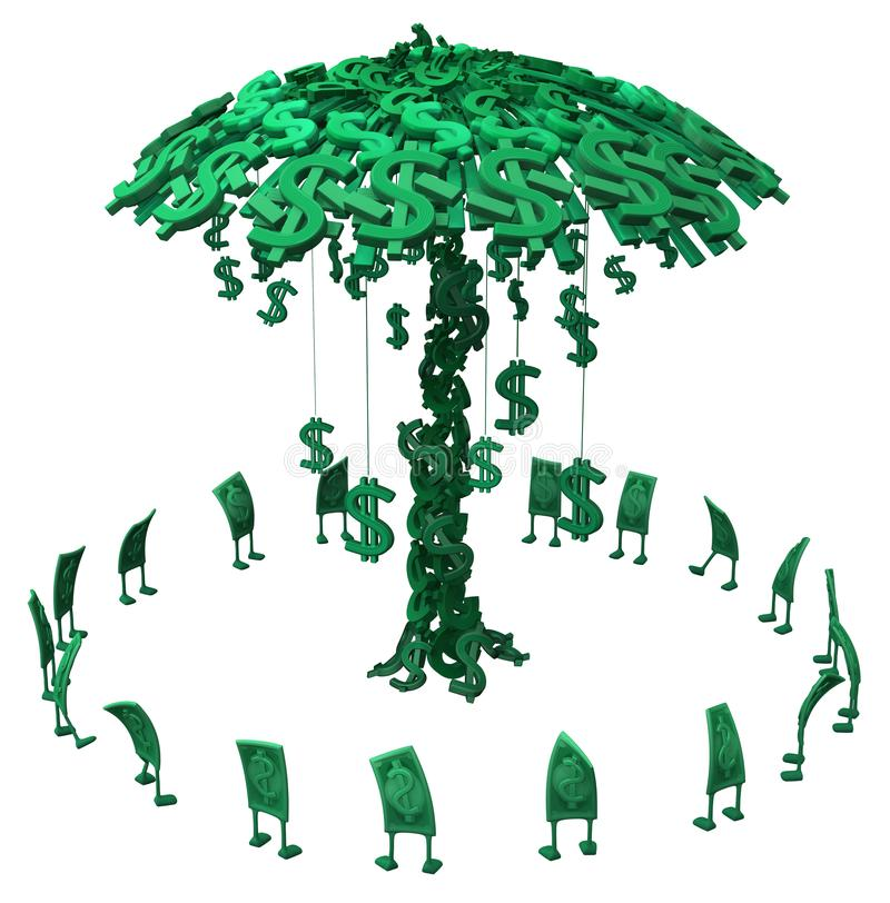 Live Cash, Geld-Baum stock abbildung