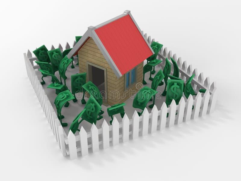 Live Cash, Haus-weißer Zaun lizenzfreie abbildung
