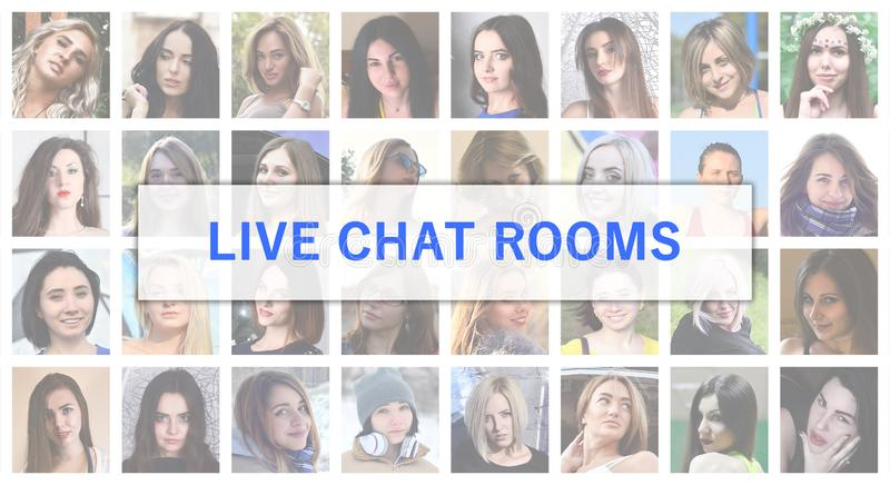 Live chat rooms. The title text is depicted on the background of stock photos
