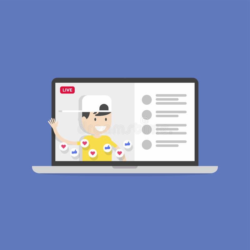 Live Chat Social massmedia Live Video Streaming Smartphone räcker in royaltyfri illustrationer