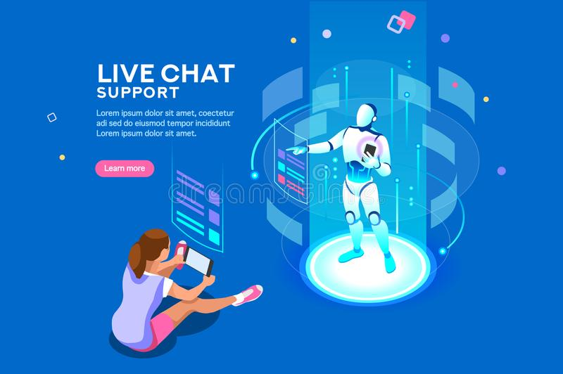 Live Chat Support Isometric Concept illustration de vecteur
