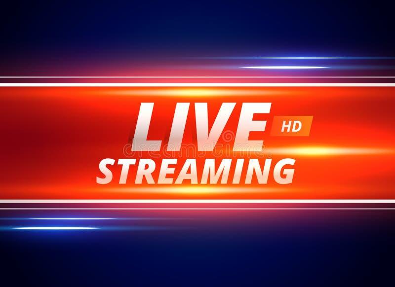 Live che scorre progettazione di massima per i canali di notizie illustrazione vettoriale