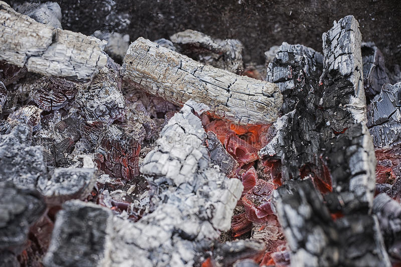 Live coals. fire. red and black.  stock image