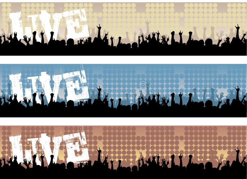 Live Concert Banners. Set of Live Rock Concert Web Banners royalty free illustration