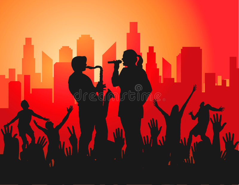 Download Live Concert in the City stock vector. Image of party - 4842574