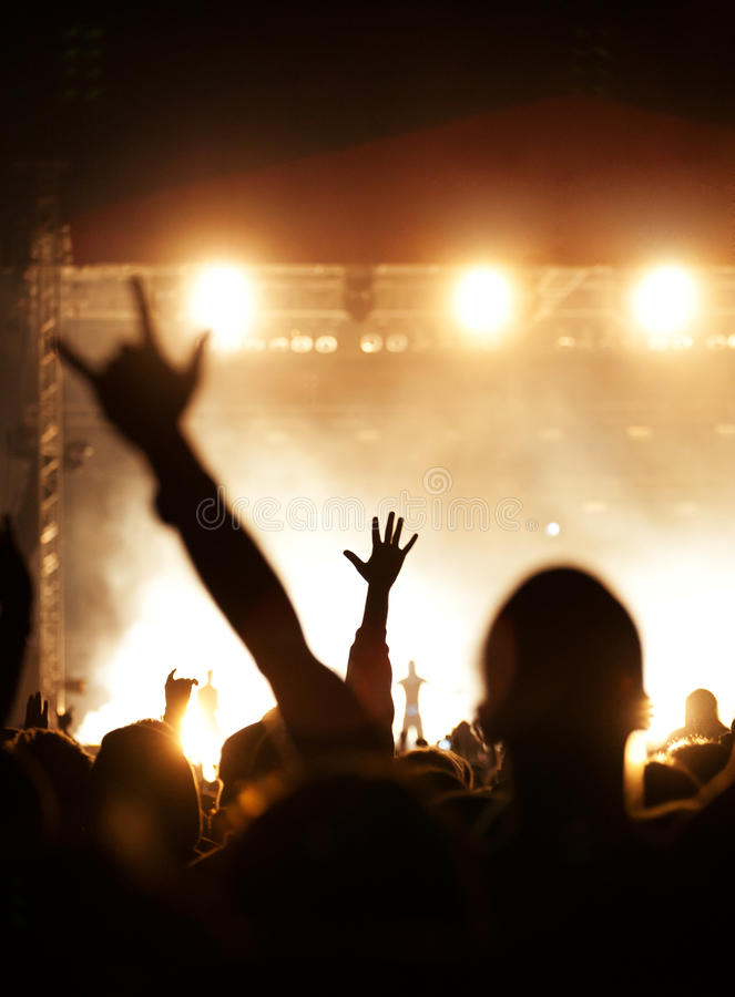 Live concert crowd waving royalty free stock photos