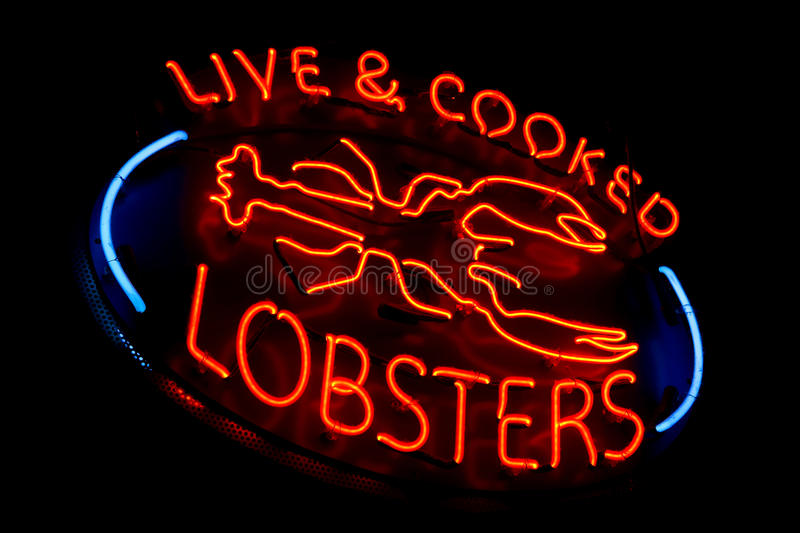 Live and Cooked Lobsters Old Neon Light Store Sign royalty free stock images