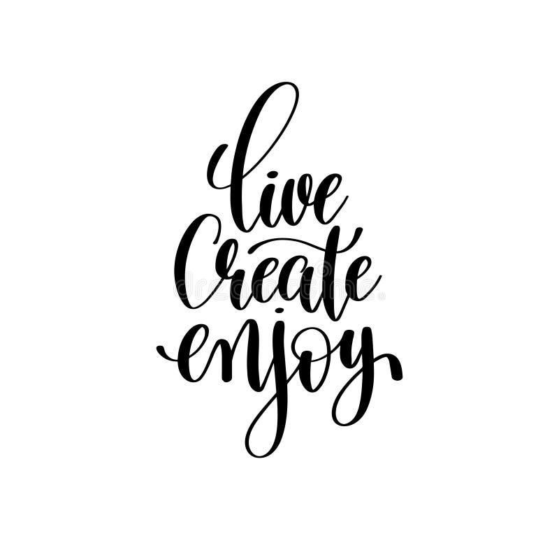 Live créent apprécient l'inscription de lettrage de main d'encre de brosse illustration de vecteur