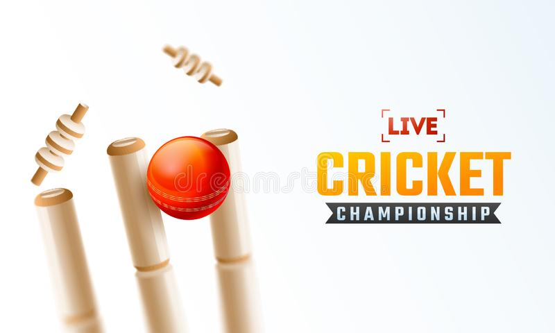 Live Cricket Championship affischdesign med nära sikt av den realistiska syrsabollen vektor illustrationer