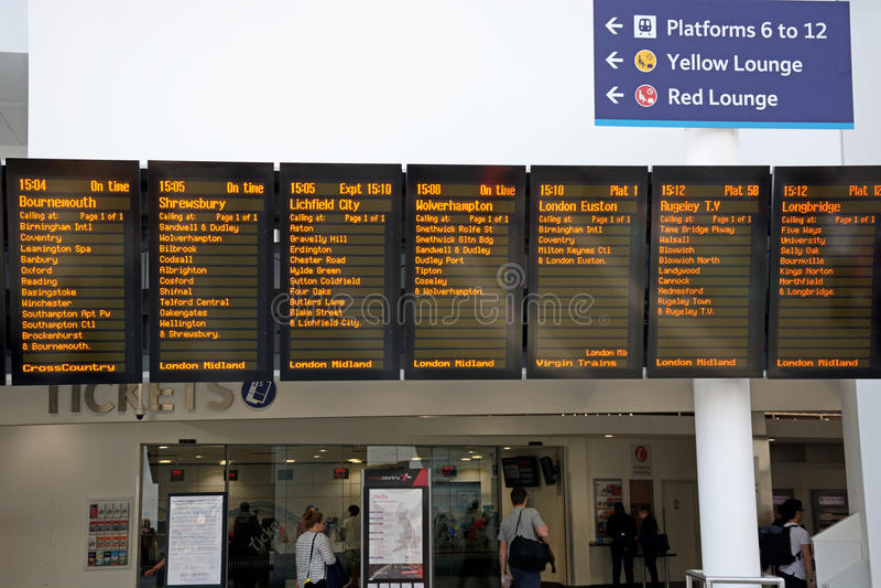 Live train times: Birmingham New Street Railway Station Arrivals Board.