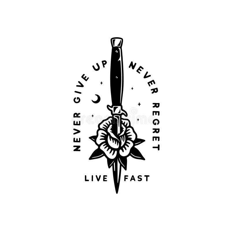 LIVE FAST ROSE AND KNIFE vector illustration