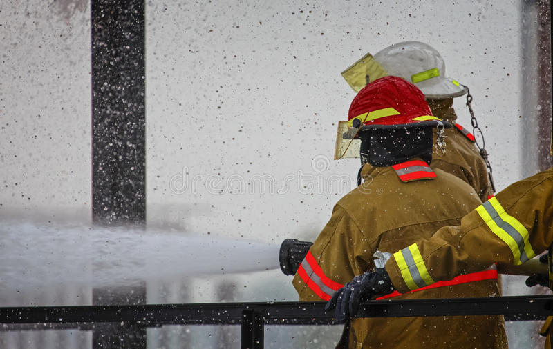 Live Fire Training Project at fire school stock photography