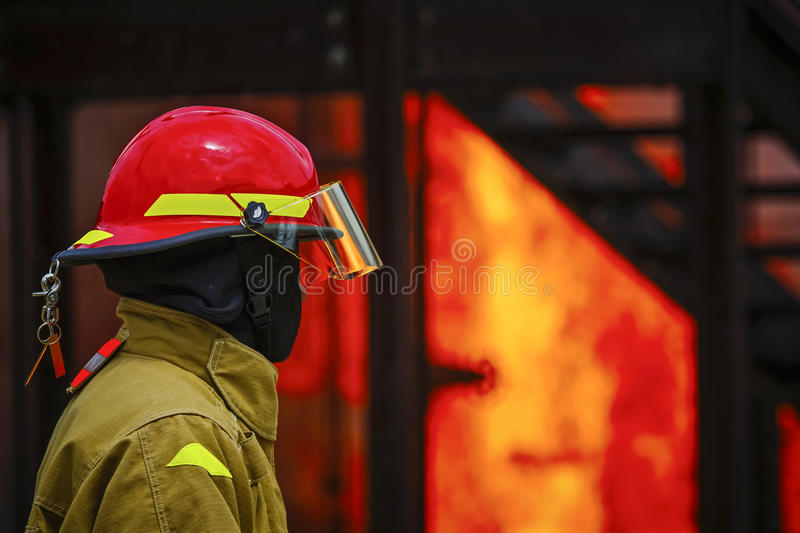 Live Fire Training Project at fire school royalty free stock photo