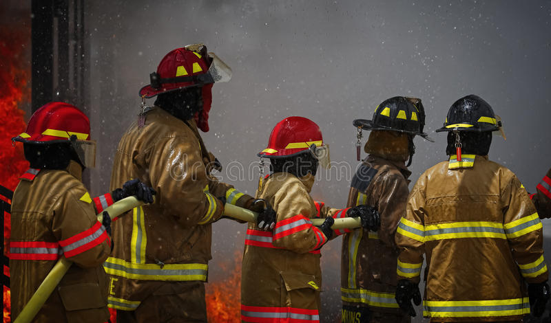 Live Fire Training Project at fire school royalty free stock images