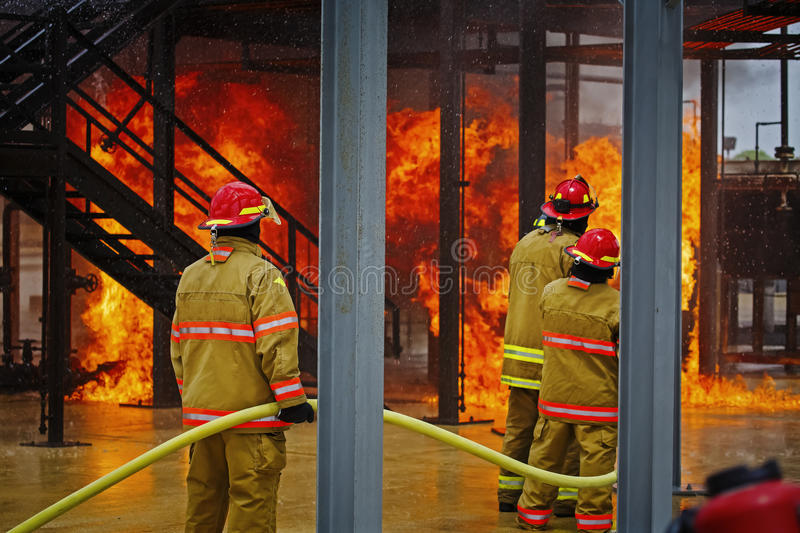 Live Fire Training Project at fire school royalty free stock photos