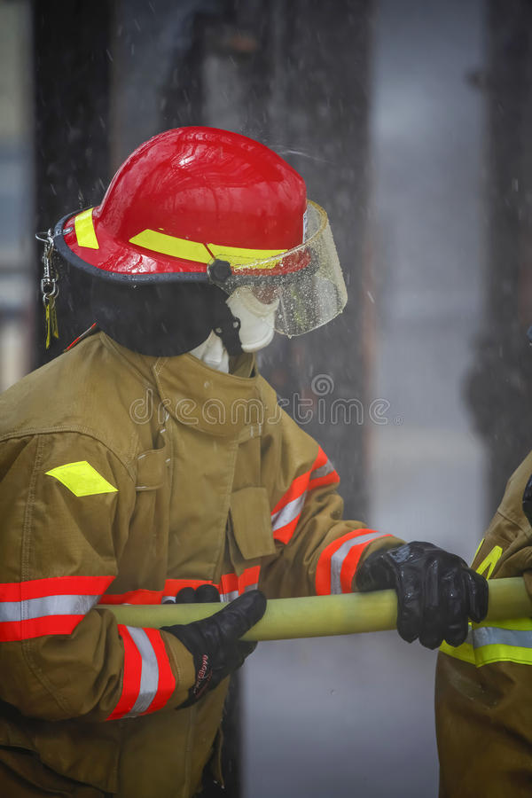 Live Fire Training Project at fire school stock image