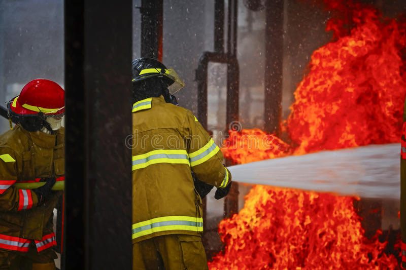 Live Fire Training Project at fire school royalty free stock photography