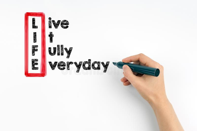 Live It Fully Everyday, la vie photo stock