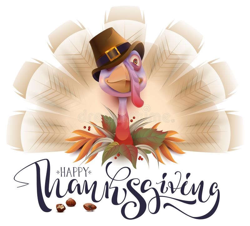 Live fun turkey bird Thanksgiving Day poster. Happy Thanksgiving text greeting card stock illustration