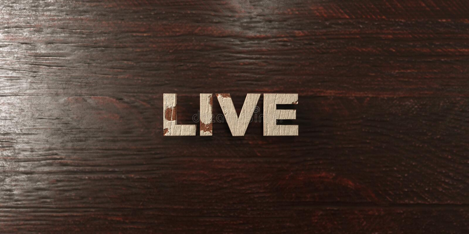 Live - grungy wooden headline on Maple - 3D rendered royalty free stock image. This image can be used for an online website banner ad or a print postcard vector illustration