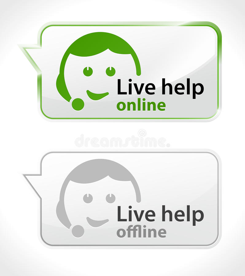 Live Help. Customer service icons online and offline state