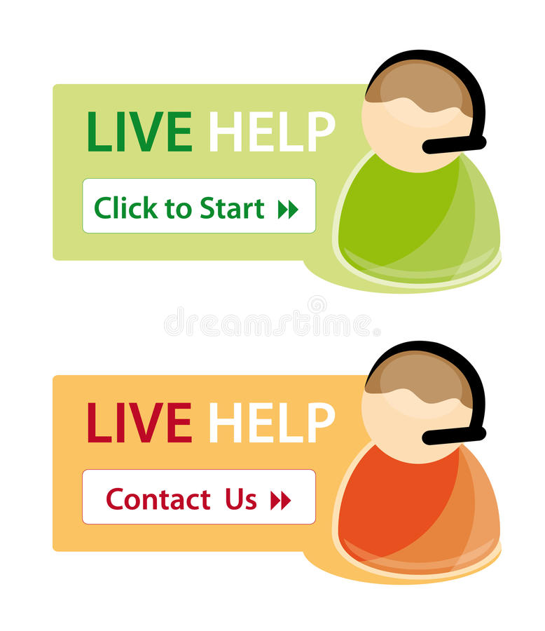 Live help support icons stock illustration
