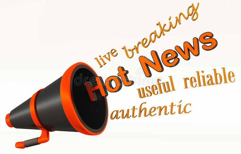 Live hot news. Concept of live or hot happening news with bullhorn or megaphone saying the words out loud stock illustration
